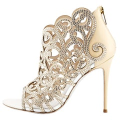 New Rene Caovilla Beige Scroll Laser-Cut Swarovski Crystals Shoes Bootie 37.5