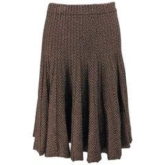 Etro Metallic Knit Tweed Pleated Skirt
