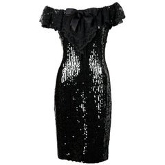 1994 CHANEL black sequined dress with chantilly lace collar & satin bow
