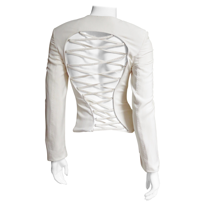 Gianni Versace Silk Lace up Back Jacket