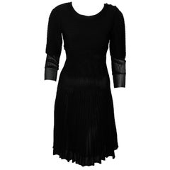 Chanel Black Knit Silk Blend Pleated Long Sleeve Dress 2009 Cruise Collection
