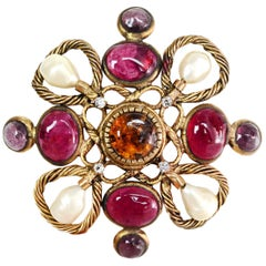 Chanel Vintage Faux Pearls & Amber/Pink/Amethyst Gripoix Brooch Pin