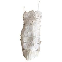 Chado Ralph Rucci Romantic Ivory Origami on Mesh Dress Size 4
