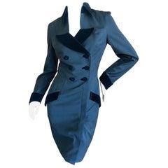 Thierry Mugler Paris Vintage Eighties Velvet Trimmed Tuxedo Dress
