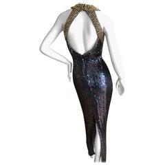 Oleg Cassini Seventies Sequin Beaded Backless Evening Dress