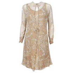 1970 Galanos Couture Butterfly Print Beige Silk-Chiffon Shift Dress & Jacket