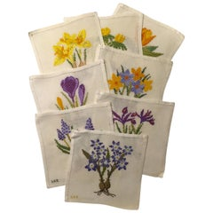 Cocktail Napkins Hand Made Set Of Eight Different Spring Flowering Bulbs