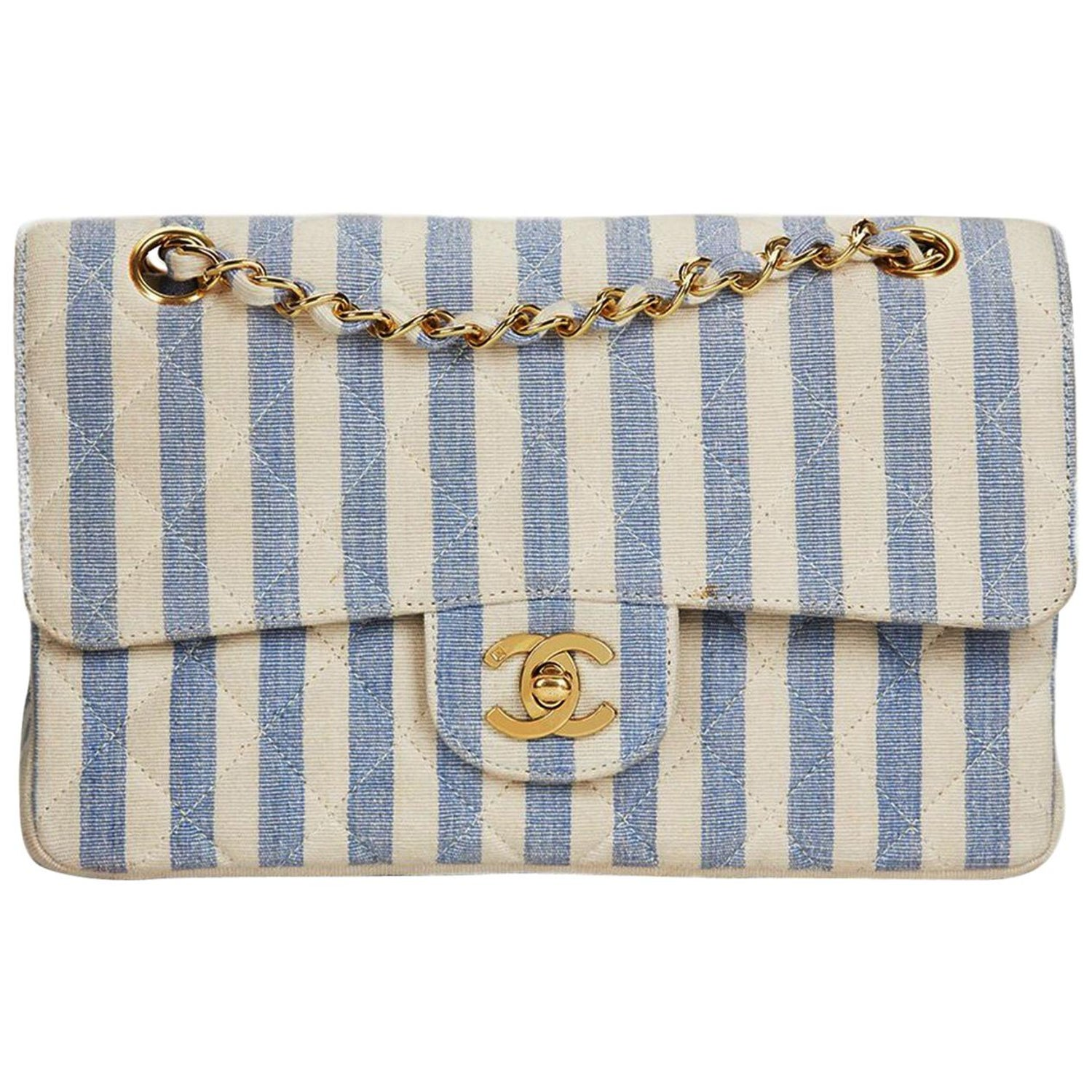 f3110da3dd5e Chanel Vintage 90s Striped Rare Blue and White Linen and Cotton Classic  Flap Bag at 1stdibs