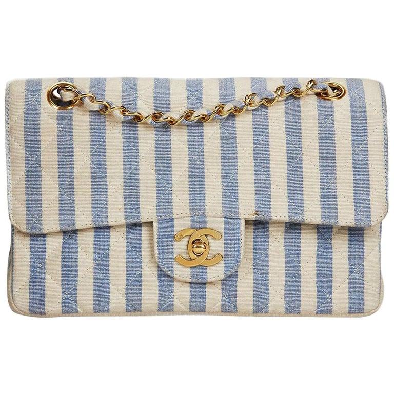 ac209ed2ba55 Chanel Vintage 90s Striped Rare Blue and White Linen   Cotton Classic Flap  Bag For Sale