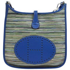"Hermes Blue Green Leather Canvas ""H"" Logo Men's Women's Crossbody Shoulder Bag"