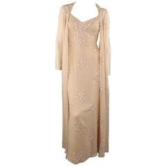 BADGLEY MISCHKA Size 6 Beige Silk Floral Embroidered Slip Gown & Coat