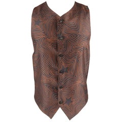 GIANNI VERSACE 38 Size S Black and Brown Star Print Silk V Neck Vest
