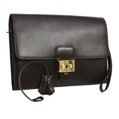 Hermes Dark Chocolate Leather Gold Evening Envelope Wristlet Clutch Flap Bag