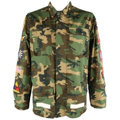 Men's OFF-WHITE L Green Camouflage Patches 2013 Military Jacket
