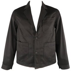 Men's COMME des GARCONS GANRYU L Black Cotton Patch Pockets Sport Coat