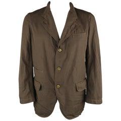 COMME des GARCONS HOMME DEUX XL Brown Wrinkled Twill Sport Coat Jacket