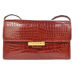 Hermes Red Crocodile Leather Gold 2 in 1 Evening Clutch Shoulder Flap Bag in Box