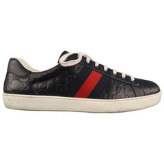 Men's GUCCI ACE Size 11 Navy Monogram Leather Lace Up Sneakers