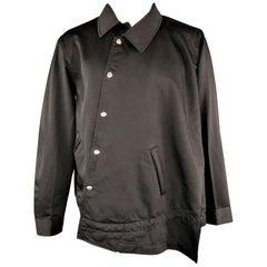 COMME des GARCONS HOMME PLUS L Black Asymmetrical Snap Blouson Jacket