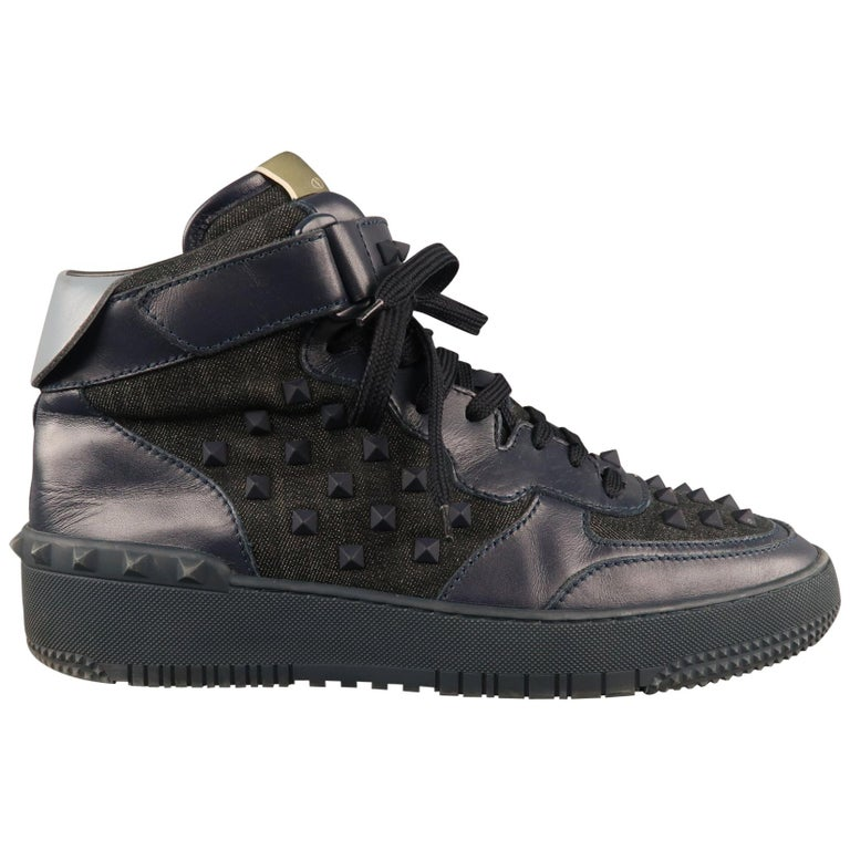 24dd4603ed1 Men's VALENTINO Size 10.5 Navy Mixed Materials Denim High Top Sneakers For  Sale