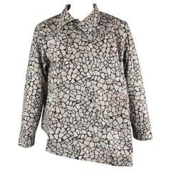 COMME des GARCONS HOMME PLUS L Gray Rock Print Asymmetrical Snap Blouson Jacket