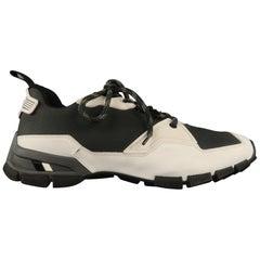b8c34add0712 Men s PRADA Size 10.5 Black   White Mixed Materials Nylon Lace Up Sneakers