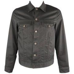 ACNE STUDIOS 42 Charcoal Cotton Blend Trucker Jacket