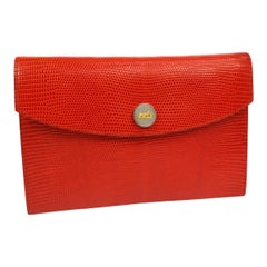 Hermes Red Lizard Leather Silver Evening Envelope Clutch Flap Bag