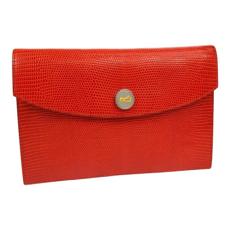 detailing 50% off on sale online Hermes Red Lizard Leather Silver Evening Envelope Clutch Flap Bag