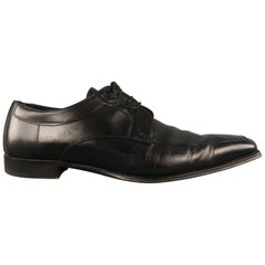 Men's CANALI Size 13 Black Leather Lace Up Shoes