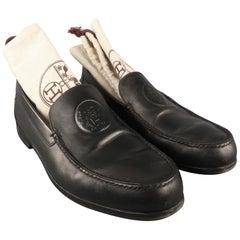 38c8bfc1ff8 Men s HERMES Size 9.5 Black Leather Embossed Logo Slip On Loafers