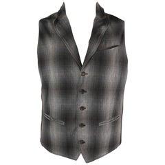 Men's JOHN VARVATOS 42 Grey Plaid Wool / Cotton Peak Lapel Vest