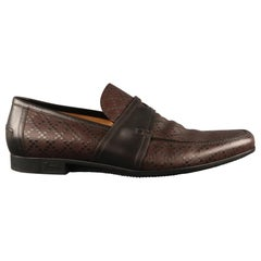 Men's GUCCI Size 13 Brown Textured Leather Slip On Loafers