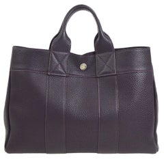 Hermes Dark Purple Leather Top Handle Satchel Carryall Tote Travel Bag