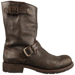 Men's FRYE Size 7.5 Brown Leather Motorcycle Boots