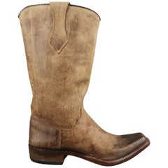 BESTETTI Size 8 Taupe Distressed Leather Western Cowboy Boots