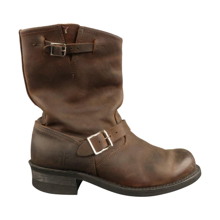 FRYE Size 8.5 Brown Distressed Leather Boots For Sale
