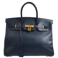Hermes Birkin 35 Dark Blue Leather Gold Travel Carryall Top Handle Satchel Tote