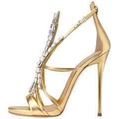 Giuseppe Zanotti NEW Gold Leather Jewel Crystal Evening Heels Sandals in Box