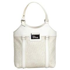 Dior White Oblique Jacquard Tote Bag