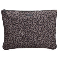 Gucci Brown Leopard Print Nylon Clutch Bag