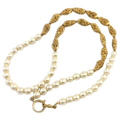 Chanel Gold Pearl 213417 Necklace