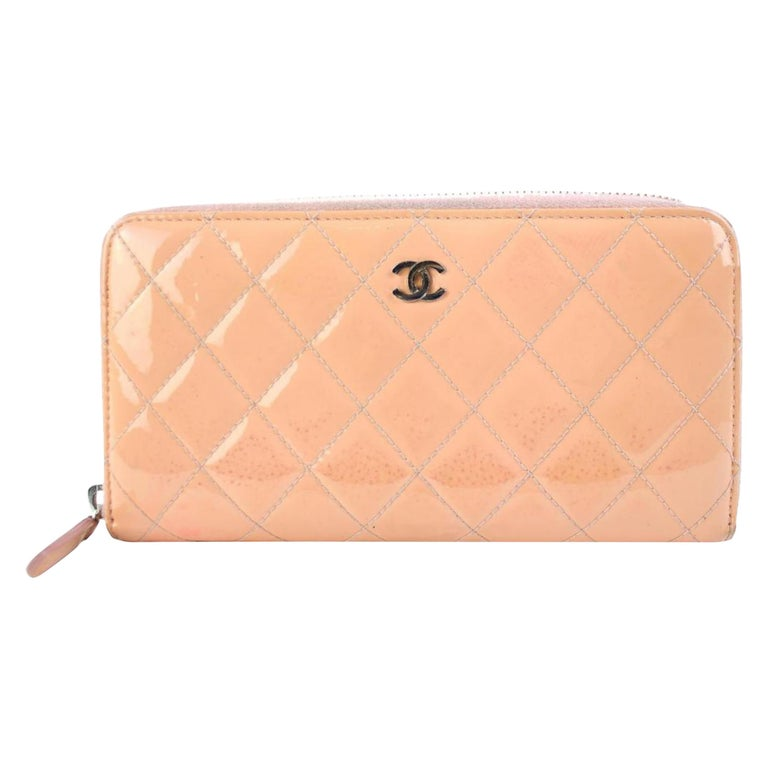 83c5e0ece1ab Chanel Salmon Quilted Patent Cc Zip Around 215508 Wallet For Sale at ...