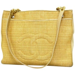 Chanel Cc Logo Chain Tote 221851 Natural Straw X Leather Shoulder Bag 74b4c27701b92