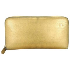 Chanel Gold Zip Around Long 216163 Wallet