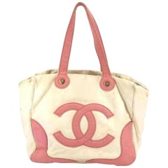 Chanel Marshmallow 218712 Pink Canvas Tote