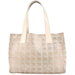 Chanel New Line Travel 215806 Metallic Pink Quilted Canvas Tote