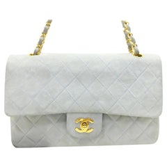 bc2b9a0f7ec3 Chanel Quilted Classic Medium Double Flap 227175 Light Blue Suede Leather  Should. HomeFashionHandbags and PursesShoulder Bags