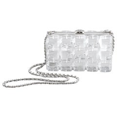 Chanel Minaudière Runway Cc Ice Cube 867940 Silver Plastic Cross Body Bag