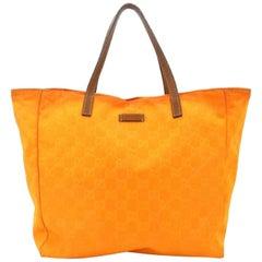 Gucci Shopper 227292 Orange Guccisima Nylon Tote